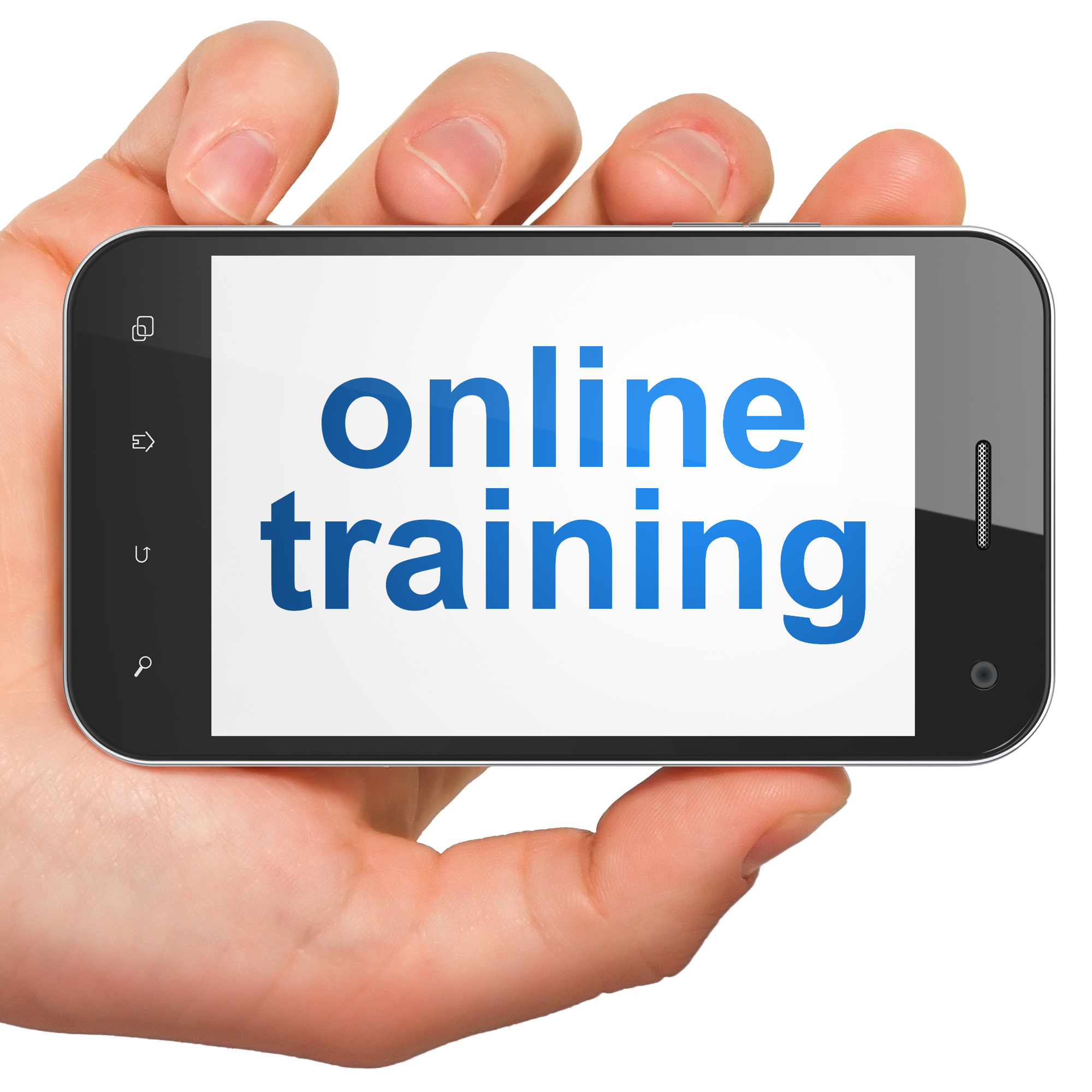 Education concept: hand holding smartphone with word Online Training on display. Generic mobile smart phone in hand on White background.